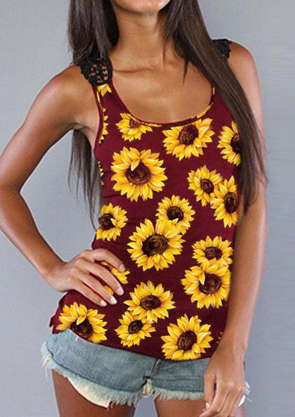 Sunflower Lace Splicing Open Back Tank - Burgundy