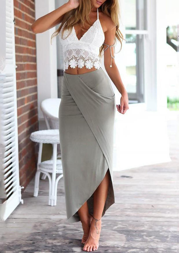 Lace Camisole + Wrap Long Skirt Outfit - Cyan