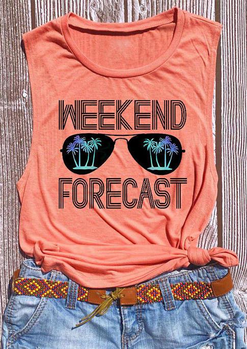 Weekend Forecast Glasses O-Neck Tank - Orange