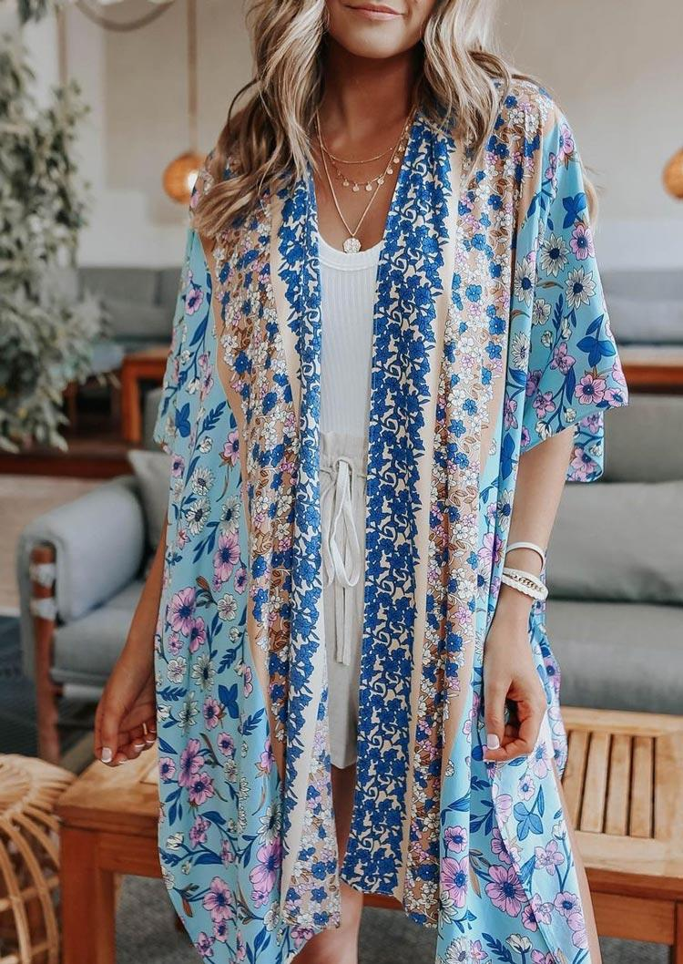 Floral Batwing Sleeve Open Front Cardigan