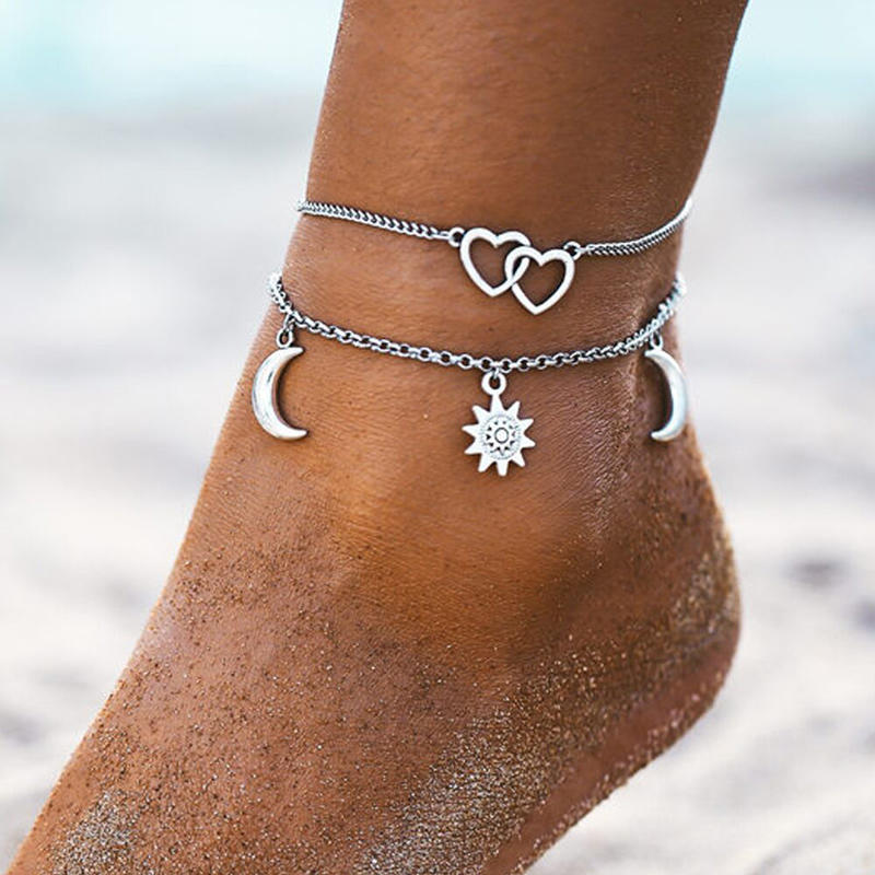 Sun Moon Hollow Out Heart Anklet Set, 501382, Fairyseason, Silver  - buy with discount