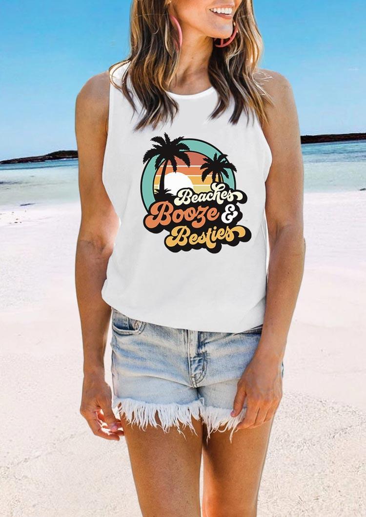 Beaches Booze & Besties Casual Tank - White