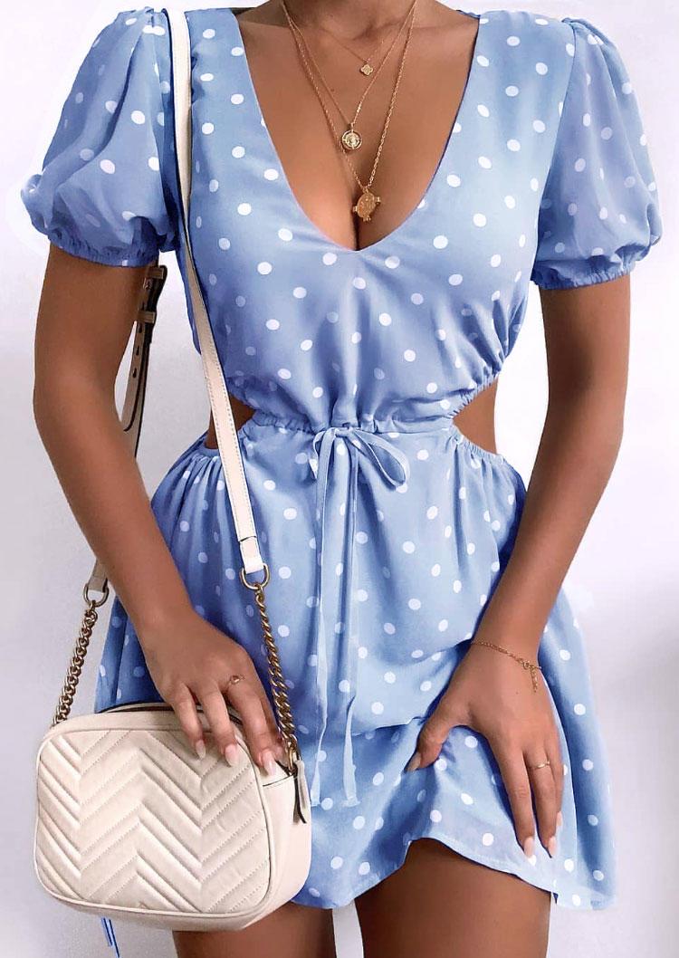 Polka Dot Hollow Out Drawstring Tie Mini Dress - Light Blue, 501307, Fairyseason  - buy with discount