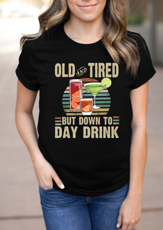 Old And Tired Drink Striped T-Shirt Tee - Black
