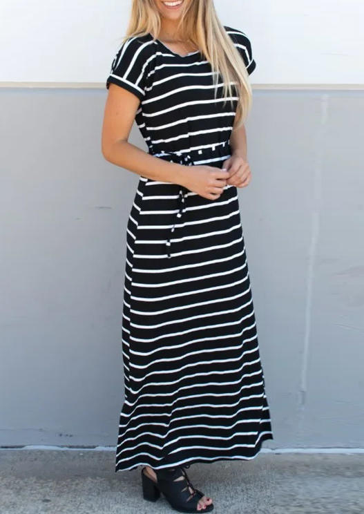 Striped Drawstring Tie Short Sleeve Maxi Dress