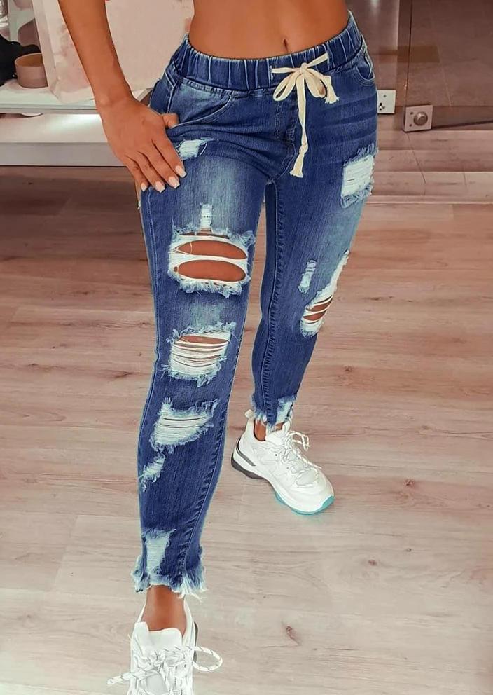 Ripped Hole Distressed Pocket Drawstring Denim Jeans - Black