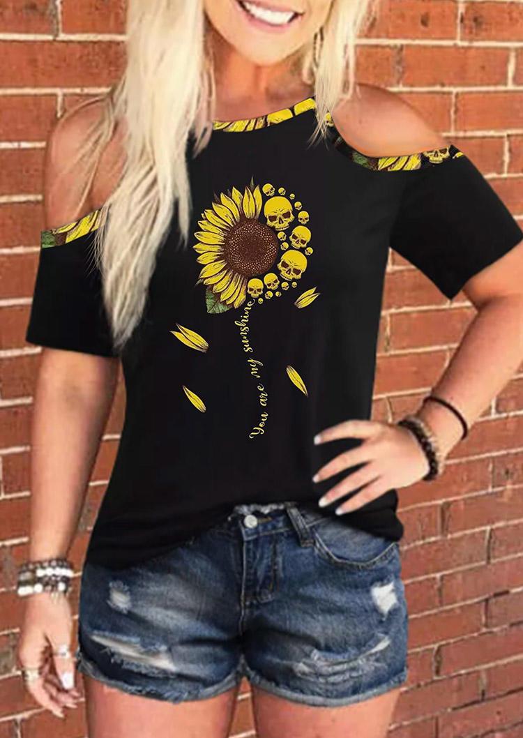 Sunflower Skull You Are My Sunshine Cold Shoulder Blouse - Black
