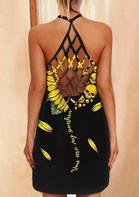 Sunflower Skull You Are My Sunshine Criss-Cross Mini Dress - Black