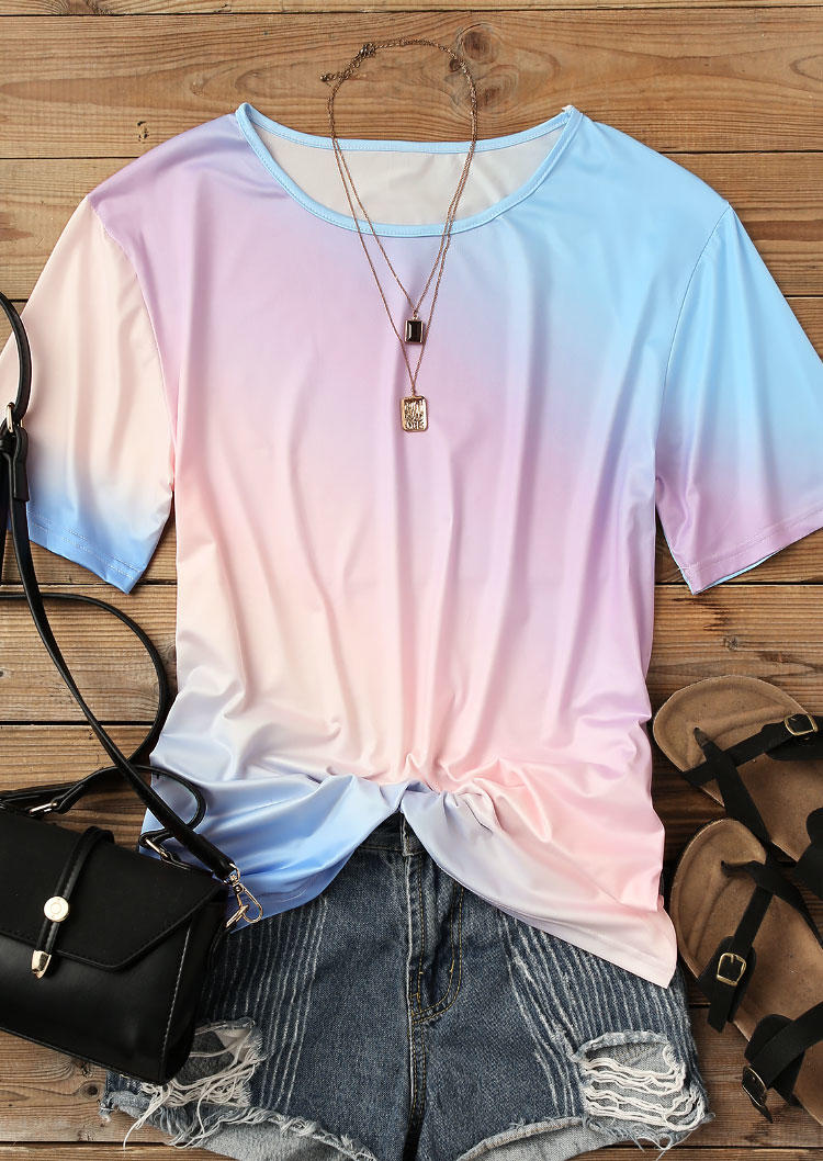 Gradient O-Neck Casual Blouse