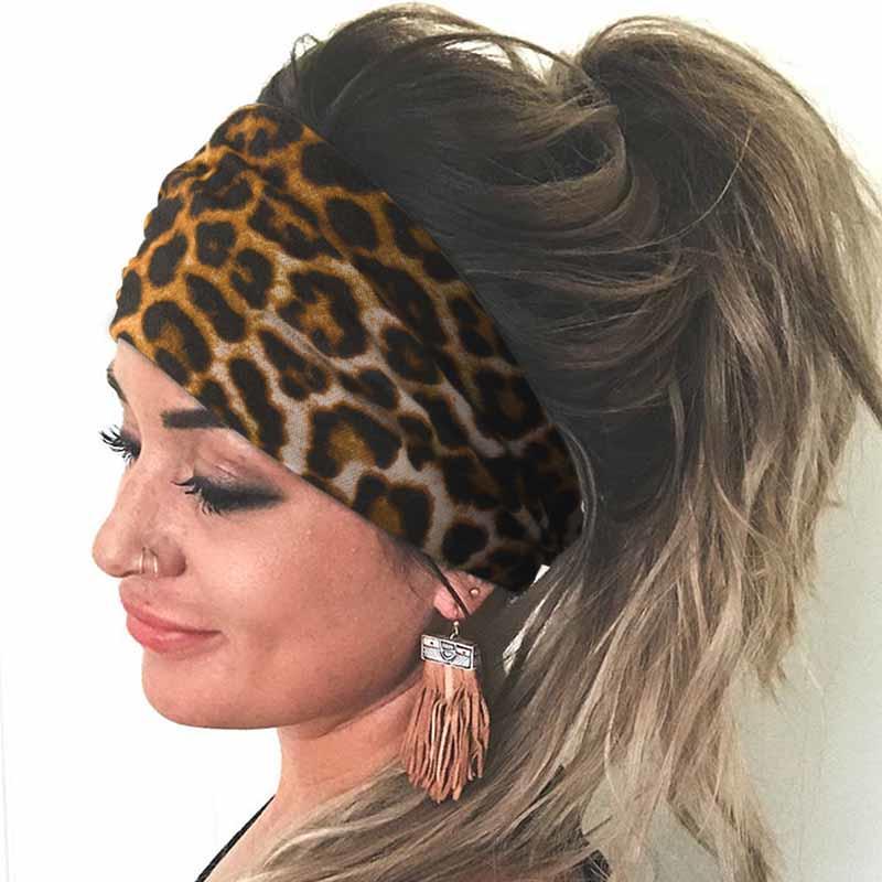 Leopard Elastic Yoga Sports Wide Headband, 501777, Fairyseason  - buy with discount