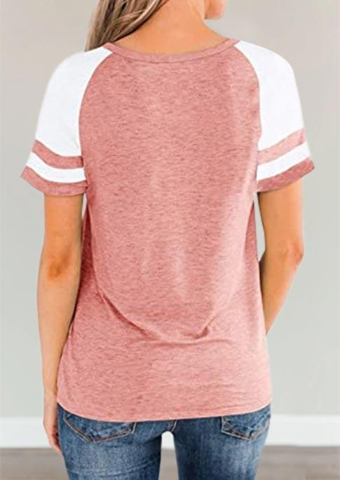 Blouses Color Block Raglan Sleeve Blouse in Pink. Size: L,XL