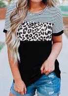 Leopard Printed Striped Splicing T-Shirt Tee - Black