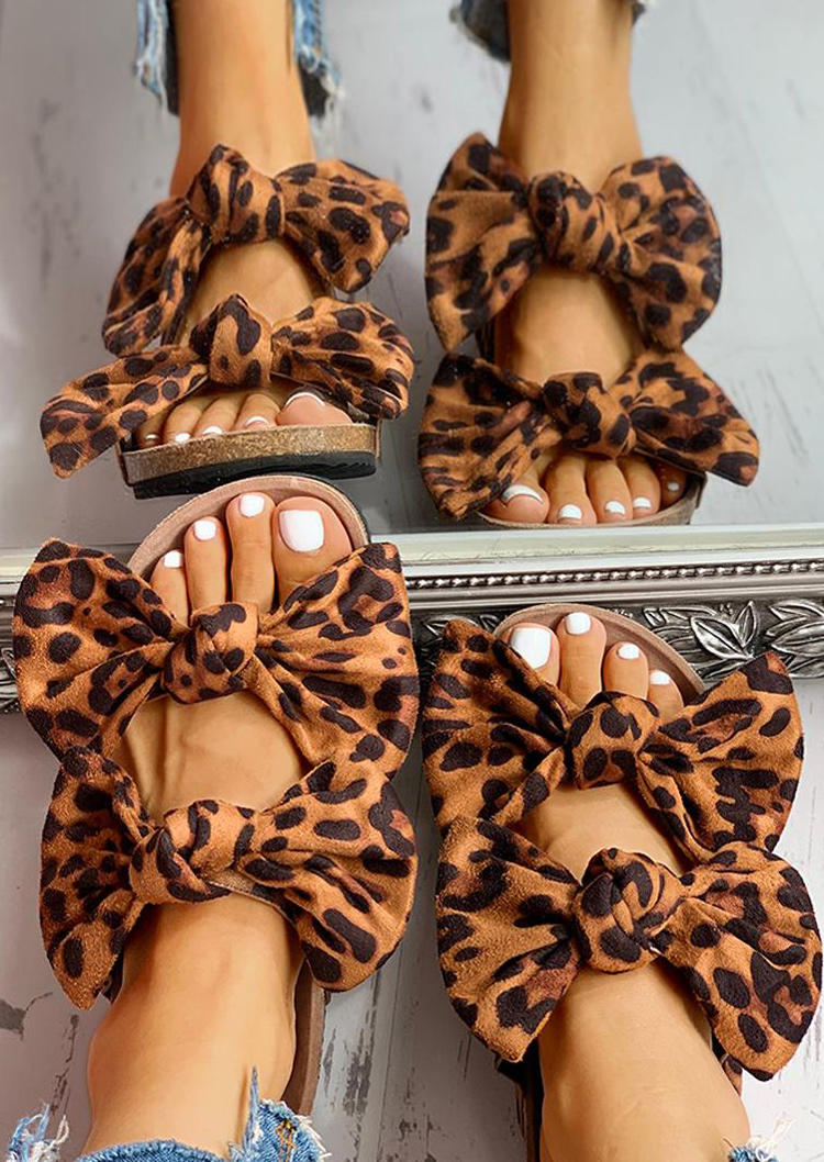 Comfortable Leopard Bowknot Flat Slippers