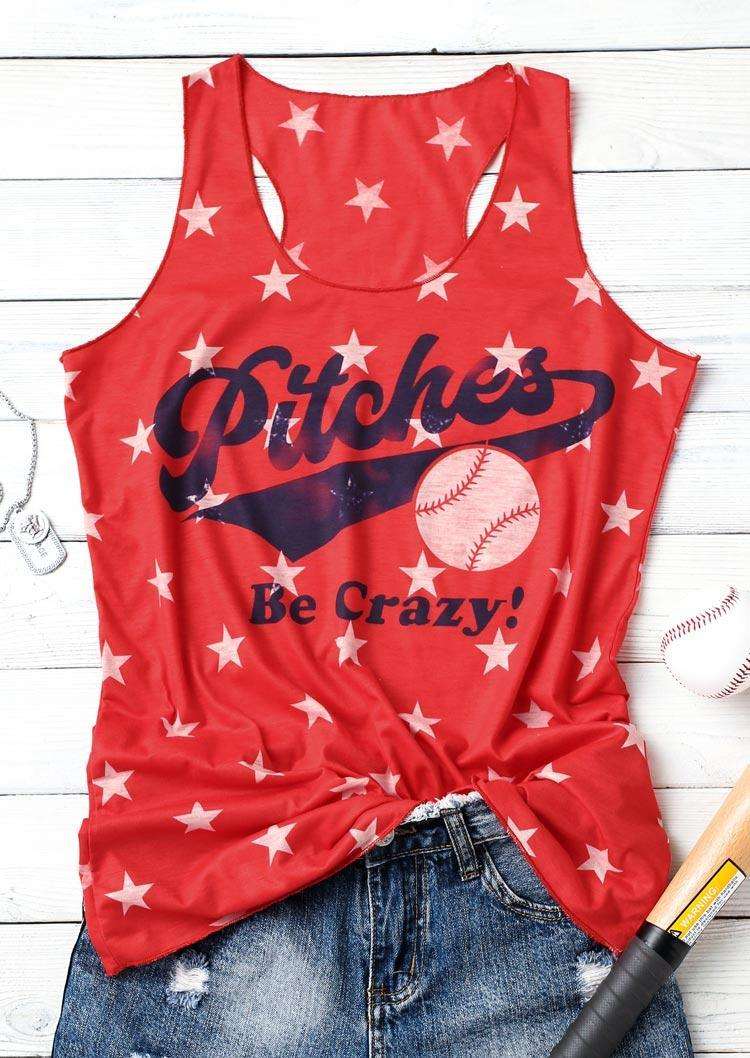 Pitches Be Crazy Baseball Star Casual Tank - Red