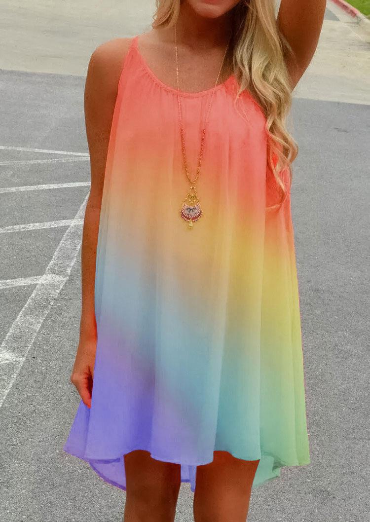 Rainbow Gradient Criss-Cross Open Back Ruffled Mini Dress