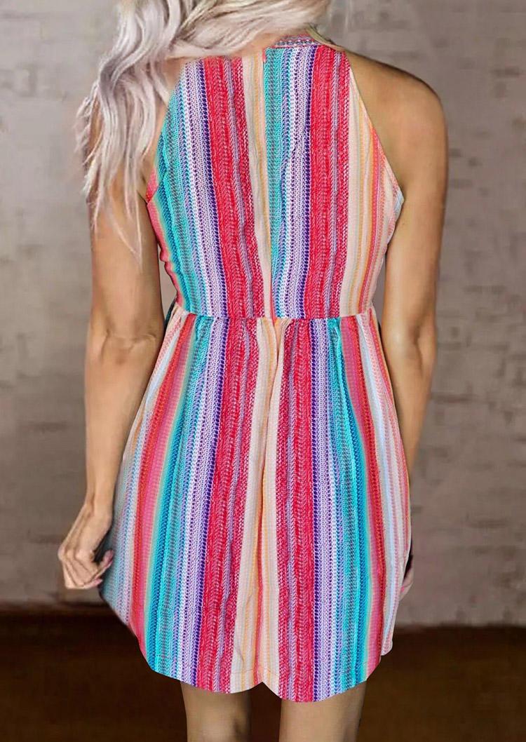Colorful Striped Floral Zipper Mini Dress