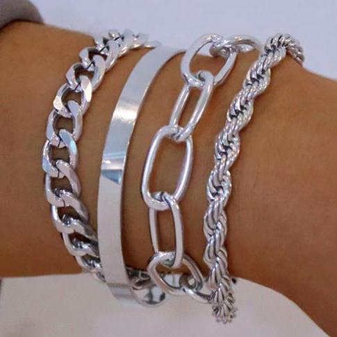 4Pcs Hip-Hop Style Alloy Link Bracelet Set