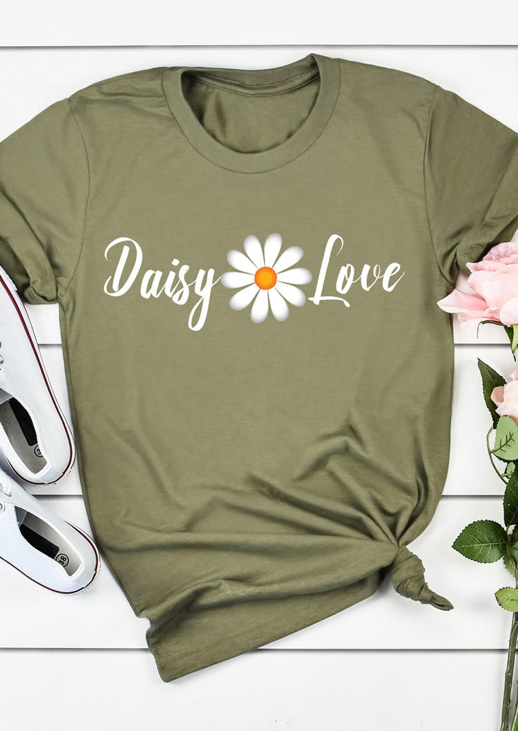 Daisy Love O-Neck T-Shirt Tee - Army Green