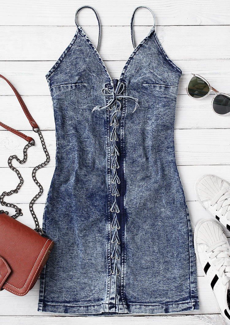 Lace Up Adjustable Strap Denim Bodycon Dress - Deep Blue