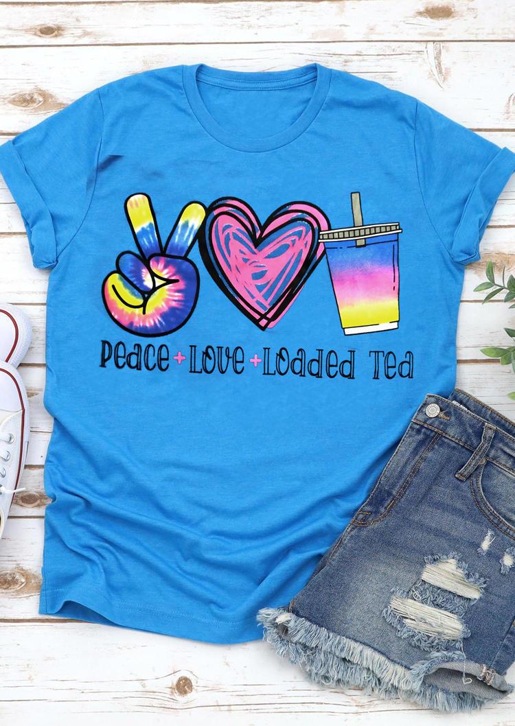 Peace Love Loaded Tea Heart T-Shirt Tee - Blue