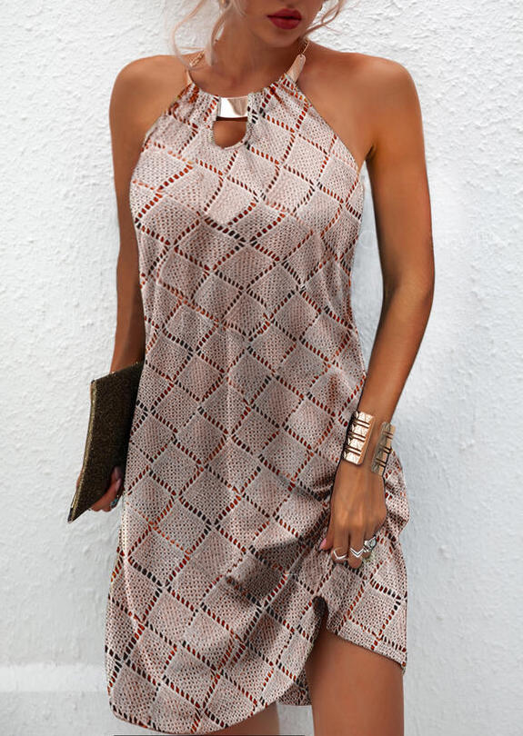 Hollow Out Halter Sleeveless Mini Dress - Light Khaki, 502448, Fairyseason  - buy with discount