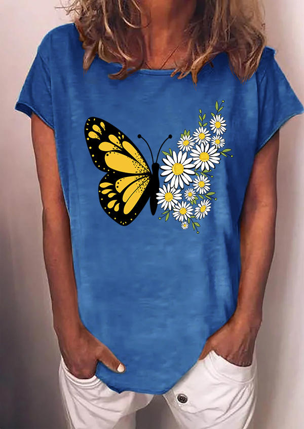 Butterfly Daisy O-Neck T-Shirt Tee - Blue, 502708, Fairyseason  - buy with discount