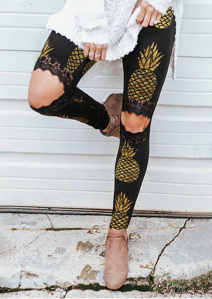 Pineapple Lace Hollow Out Skinny Leggings - Black