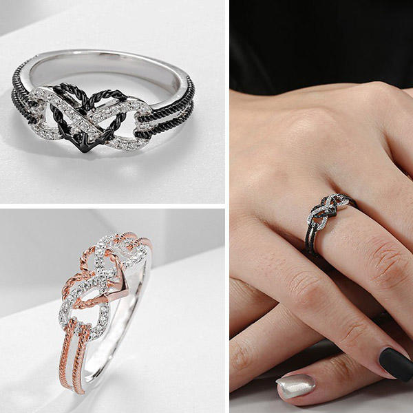 Rhinestone Hollow Out Infinity Heart Alloy Ring, 502598, Fairyseason, Black, Rose Gold  - buy with discount