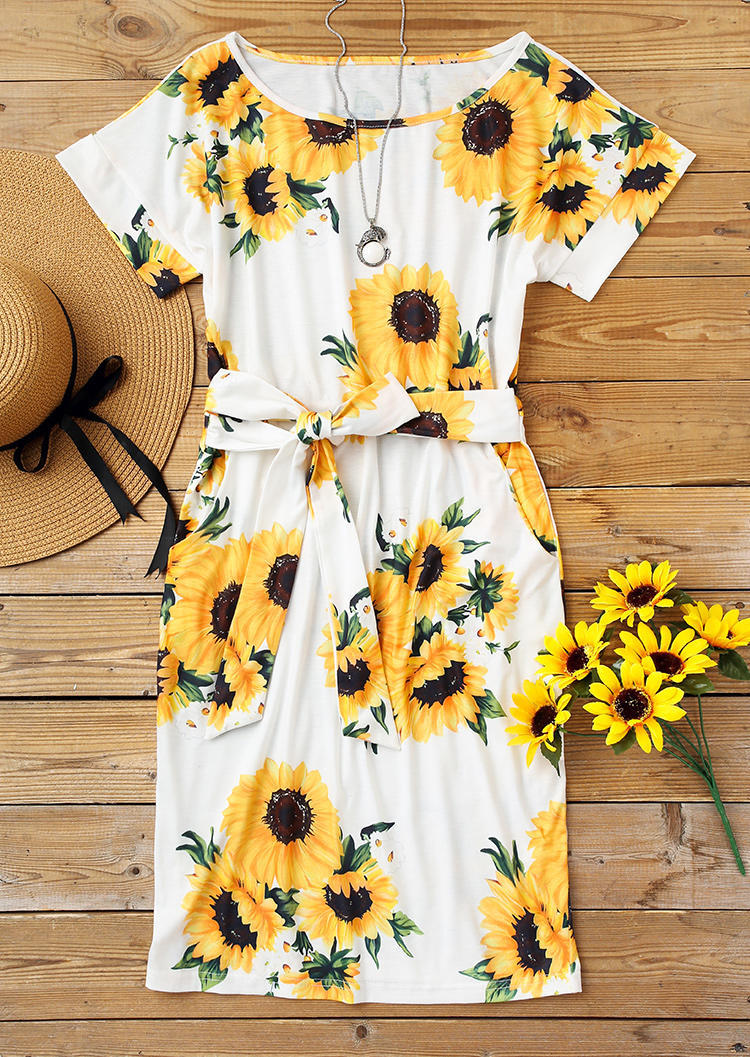 Sunflower Pocket Tie Front O-Neck Mini Dress