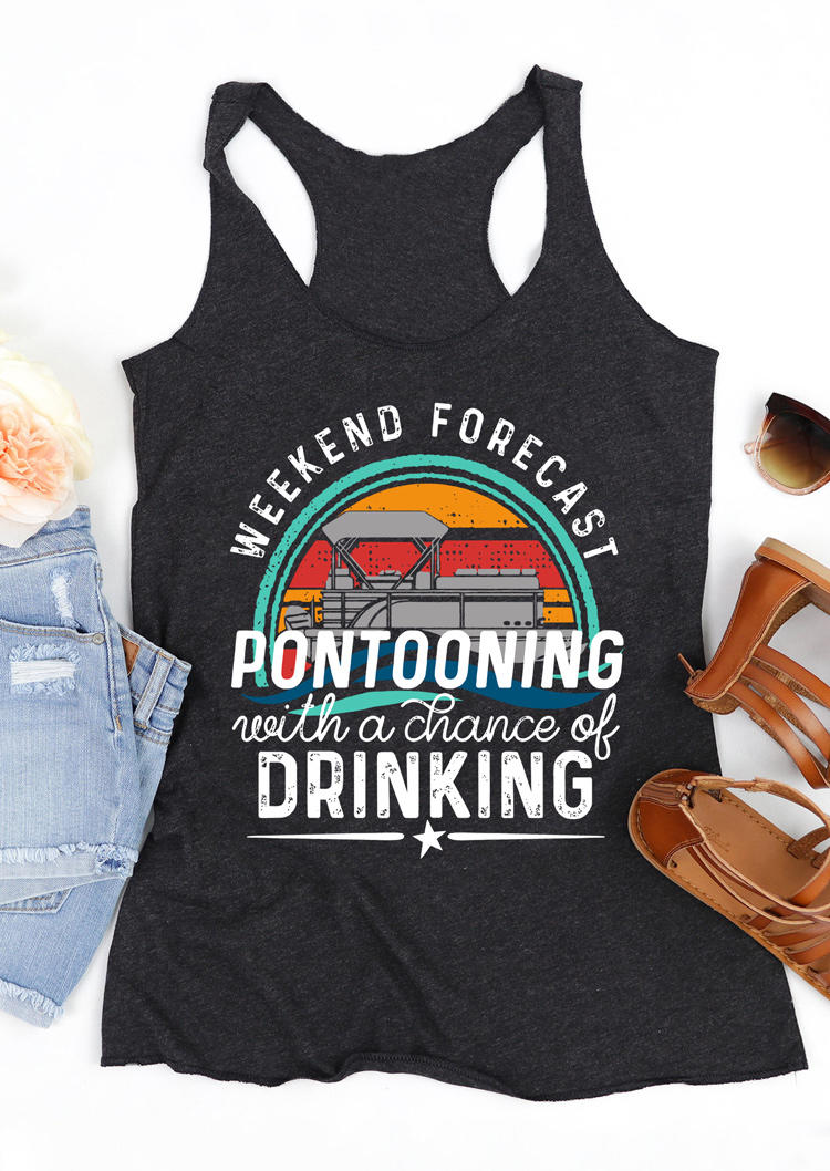 Weekend Forecast Pontooning With A Chance Of Drinking Tank - Dark Grey