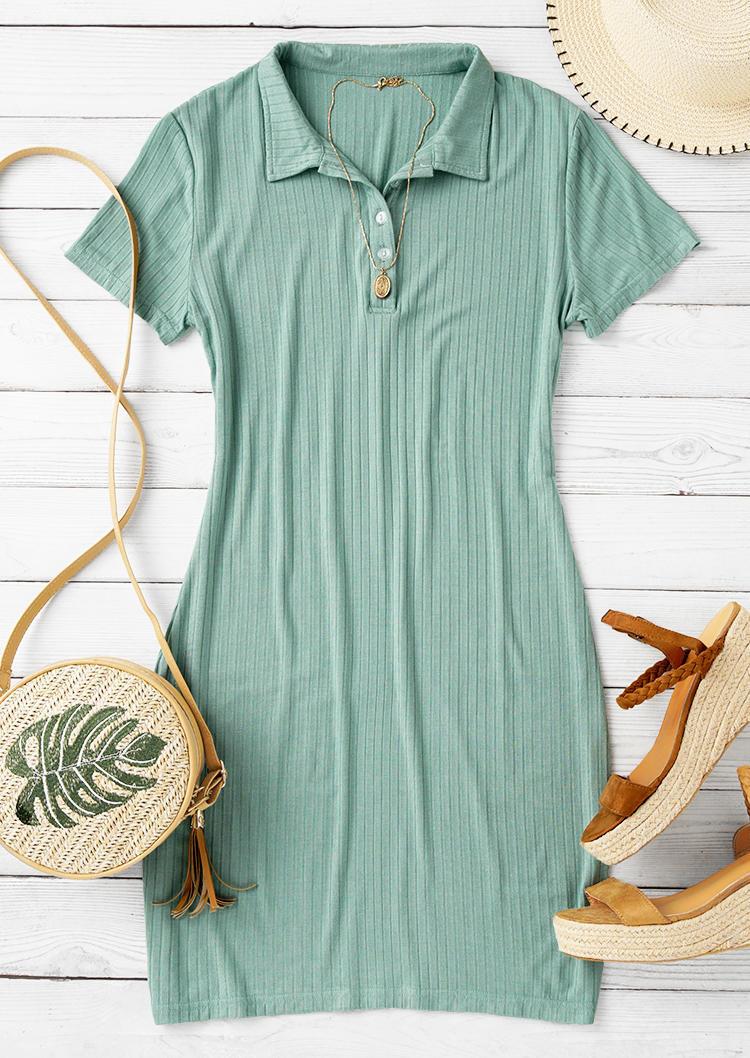Button Turn-Down Collar Bodycon Dress - Light Green