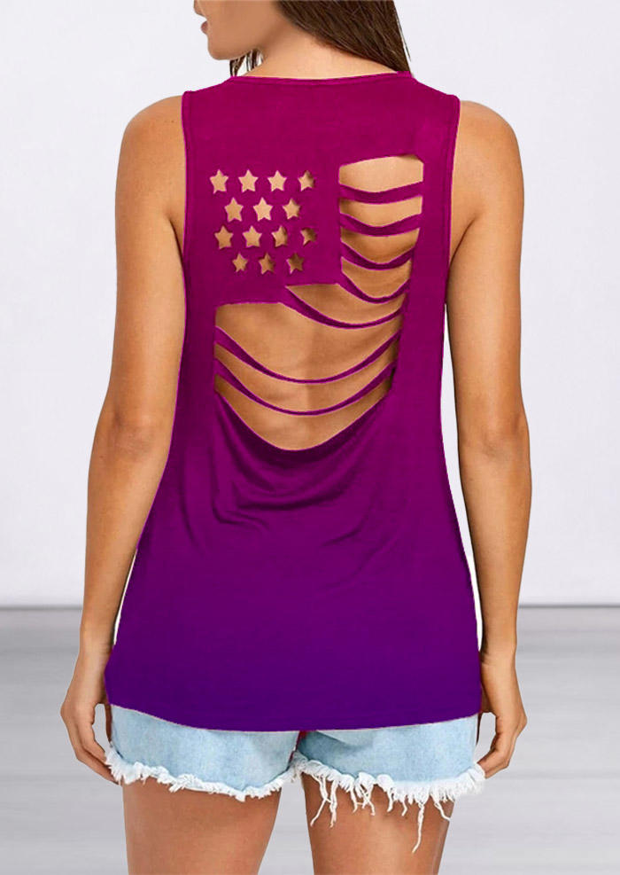 Gradient American Flag Hollow Out Tank, 503136, Fairyseason, Multicolor  - buy with discount