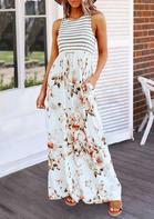 Summer Field Contrast Stripe Floral Maxi Dress