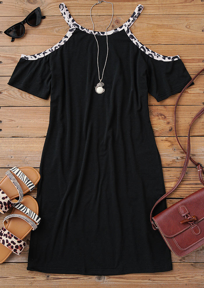 Leopard Cold Shoulder Mini Dress - Black