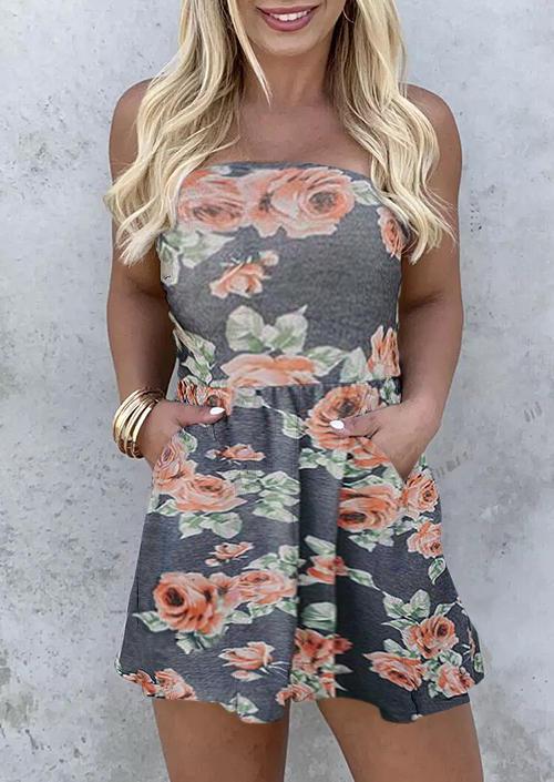 Floral Elastic Waist Pocket Strapless Mini Dress, 503031, Fairyseason, Multicolor  - buy with discount