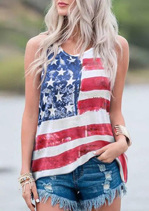 American Flag Star Striped Sleeveless Tank, 503196, Fairyseason, Multicolor  - buy with discount