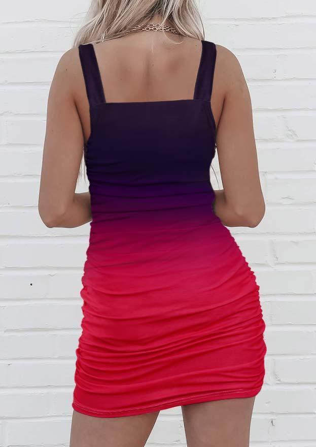 Bodycon Dresses Gradient Ruched Spaghetti Strap Bodycon Dress in Multicolor. Size: ,M,L,XL