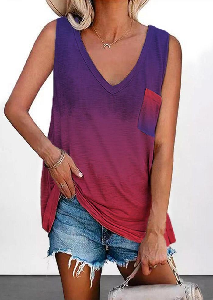 Tie Dye Gradient Pocket Tank, 503198, Fairyseason, Multicolor  - buy with discount