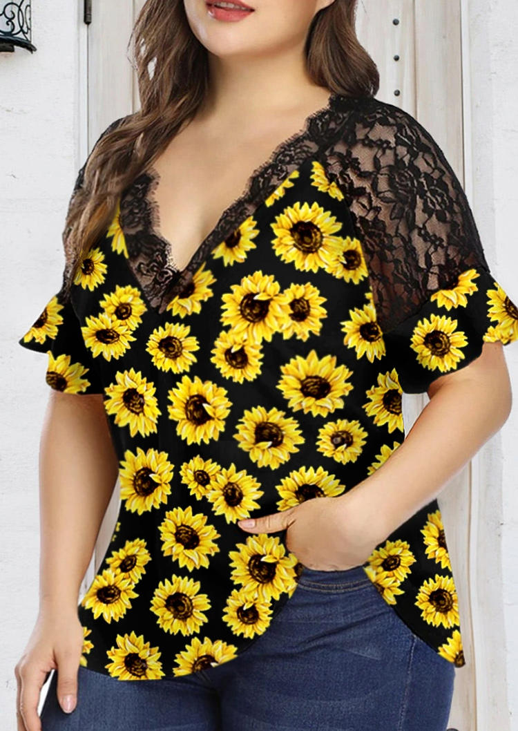 Plus Size Sunflower Lace Splicing V-Neck Blouse - Black, 503204, Fairyseason  - buy with discount
