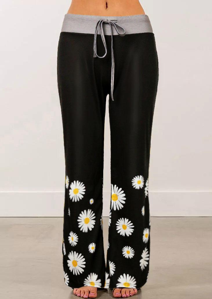 Daisy Drawstring Wide Leg Pants - Black