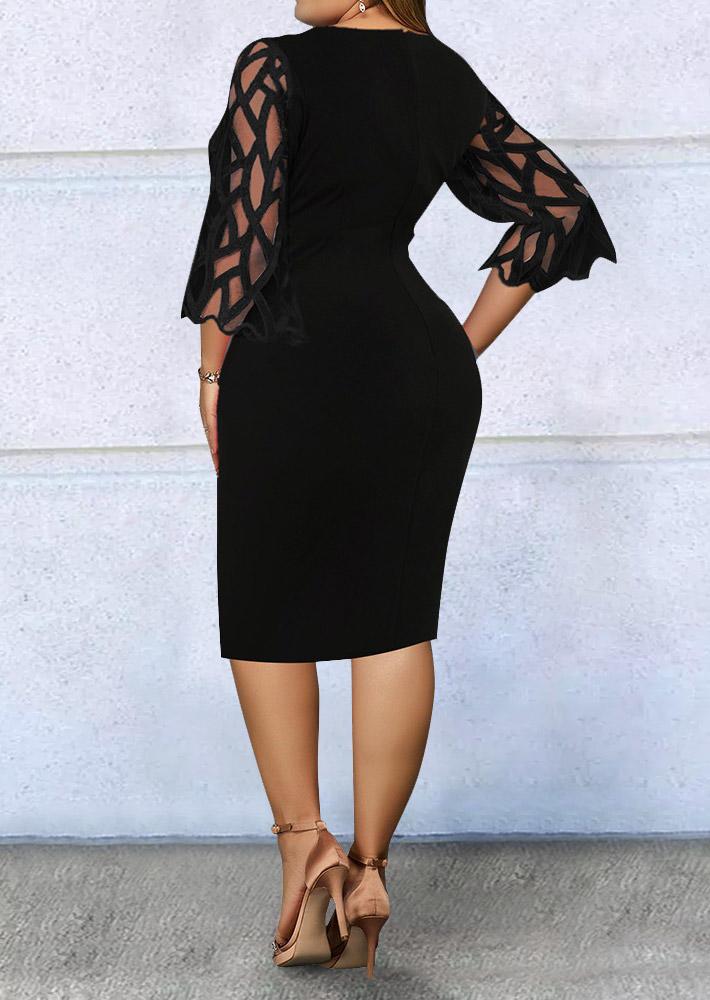 Plus Size Lace Mesh Splicing Floral Mini Dress - Black