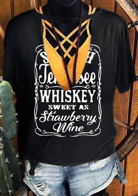 Tennessee Whiskey Sweet As Strawberry Wine Blouse without Criss-Cross Camisole - Black