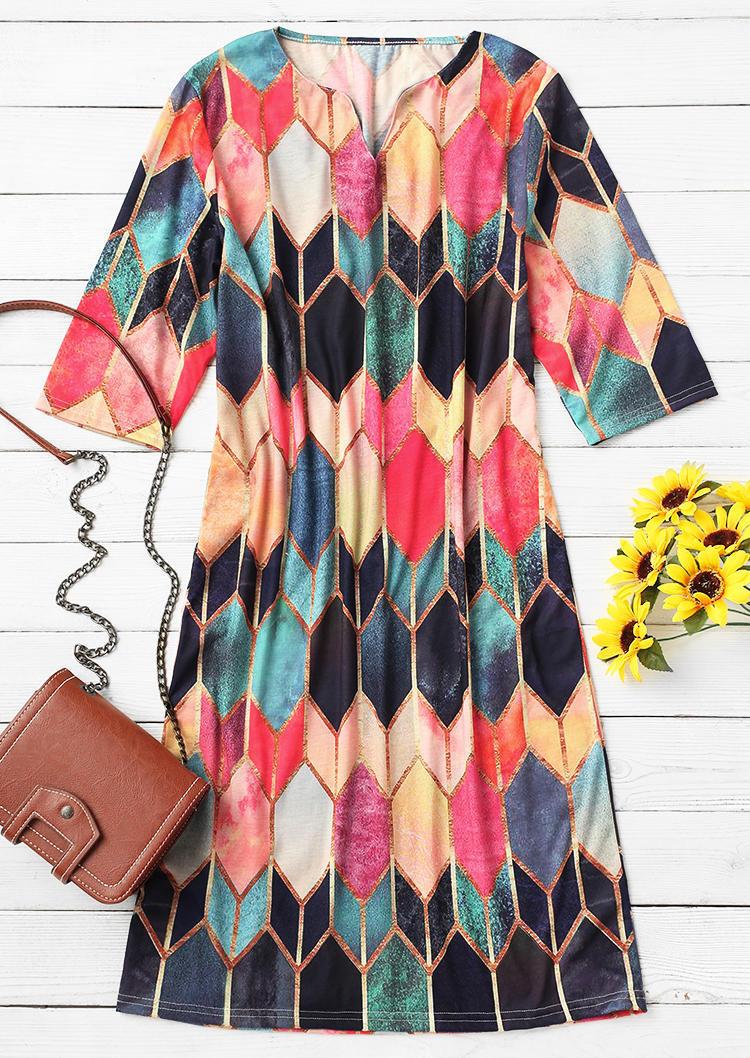 Colorful Geometric Notched Neck Mini Dress