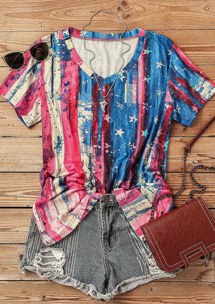 Blouses American Flag Star Striped Oil Painting Blouse in Multicolor. Size: M,L,XL