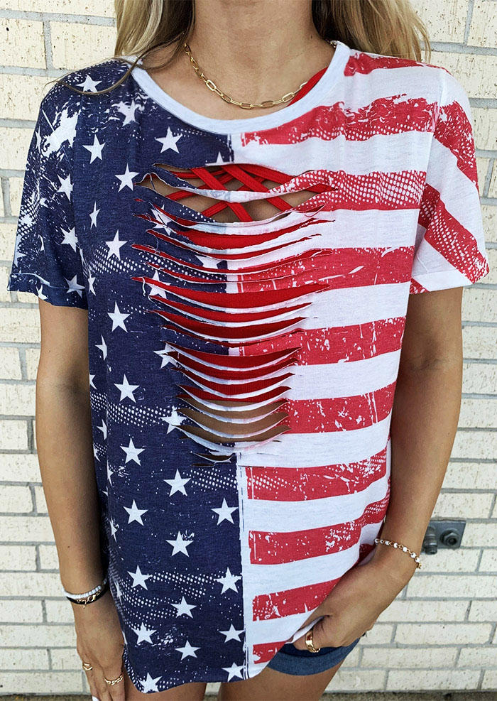 Blouses American Flag Star Striped Hollow Out Blouse in Multicolor. Size: M,L
