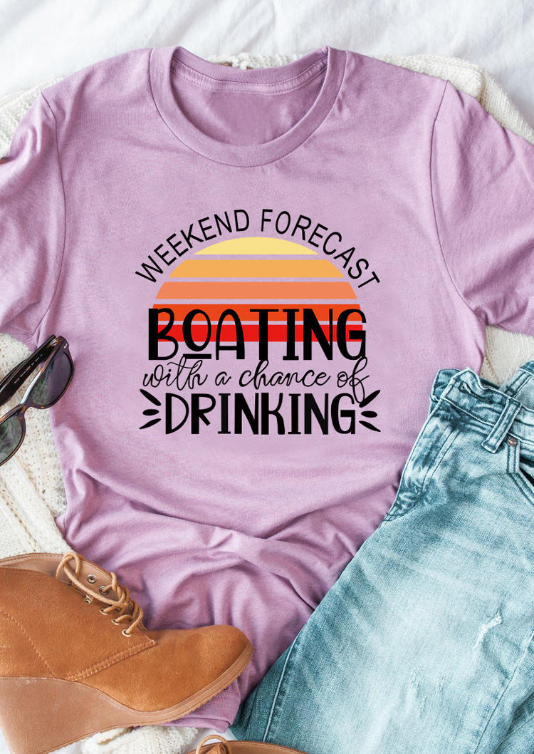 Weekend Forecast Boating Drinking T-Shirt Tee - Purple