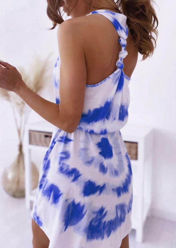 Tie Dye Twist Mini Dress - Royal Blue