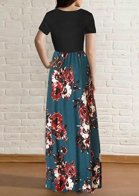 Floral Pocket Ruffled O-Neck Maxi Dress - Dark Green