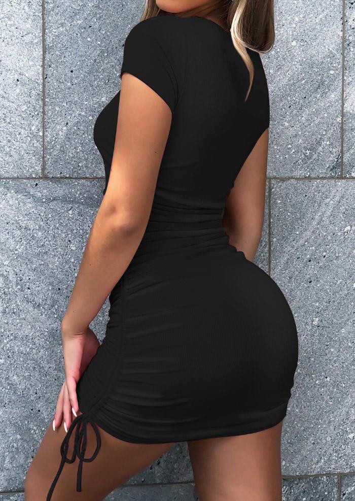 Drawstring Tie Ruched O-Neck Bodycon Dress - Black