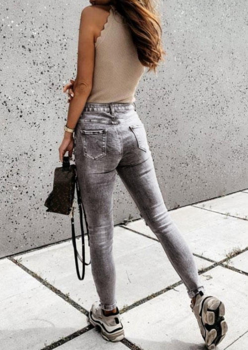Ripped Hole Distressed Pocket Button Denim Jeans - Gray